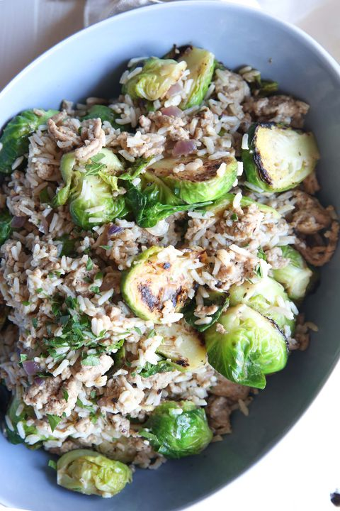 Brussels Sprouts and Turkey Rice Casserole Vertical
