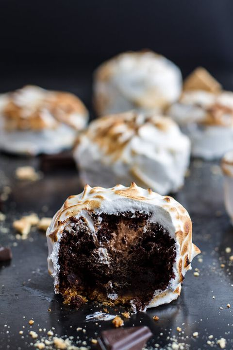 Meringue Encased Chocolate Mousse S'Mores Cakes