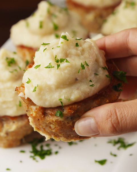 focaccina tin turkey meatloaves with garlic mashed potatoes