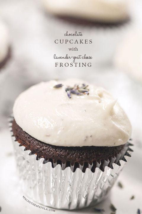cioccolato cupcakes with lavender goat cheese frosting