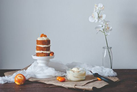 carota cake with citrus goat cheese frosting