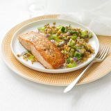 scottato salmon with lentil salad