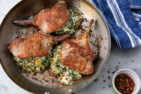 Bayam & Artichoke Stuffed Pork Chops Horizontal